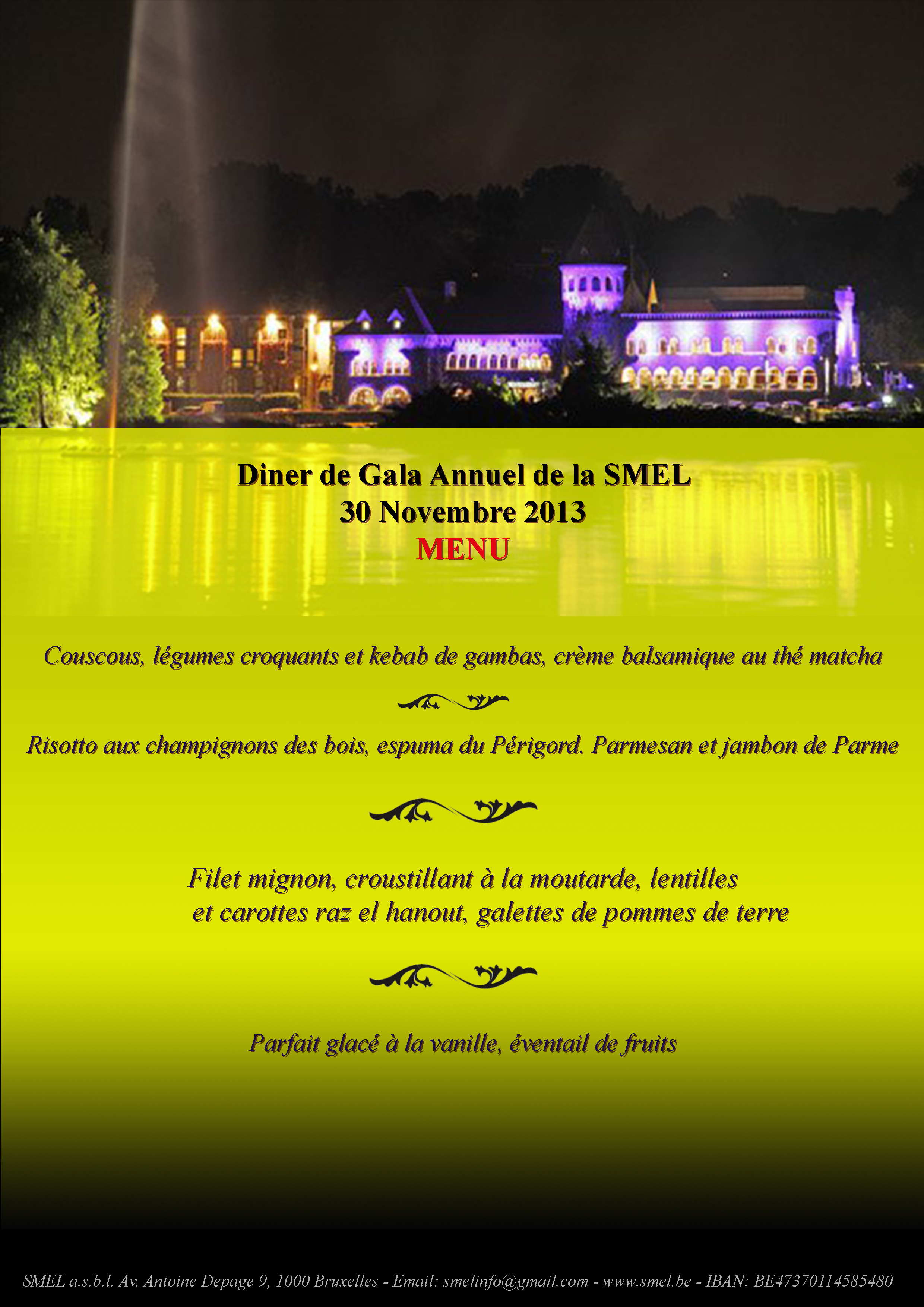 Affiche Gala SMEL 2013 - Menu